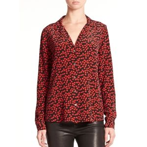 Equipment Women's Red Silk Adalyn Shirt Size Small